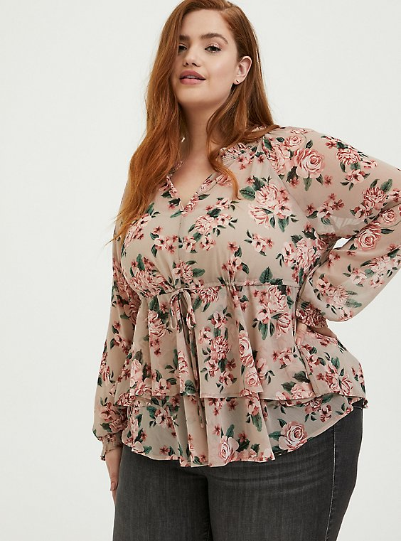 Plus Size Taupe Floral Crinkle Chiffon Drawstring Double Layer Blouse, , hi-res