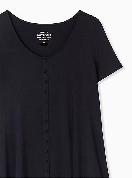 Plus Size Super Soft Black Fit & Flare Button Top, DEEP BLACK, alternate