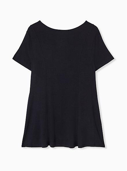 Super Soft Black Fit & Flare Button Top, DEEP BLACK, alternate