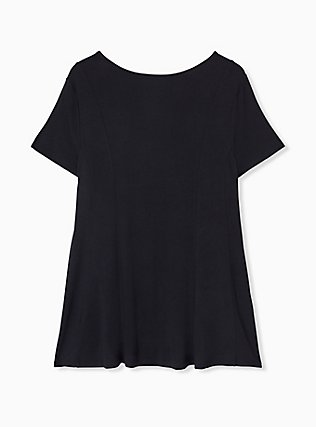 Super Soft Black Fit & Flare Button Top, DEEP BLACK, alternate