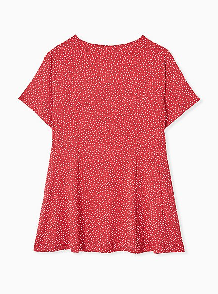 Plus Size Super Soft Red Ditsy Dots Button Fit & Flare Top, DOT - RED, alternate