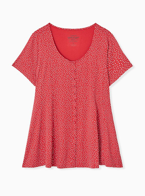 Plus Size Super Soft Red Ditsy Dots Button Fit & Flare Top, , hi-res