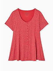 Super Soft Red Ditsy Dots Button Fit & Flare Top, DOT - RED, hi-res