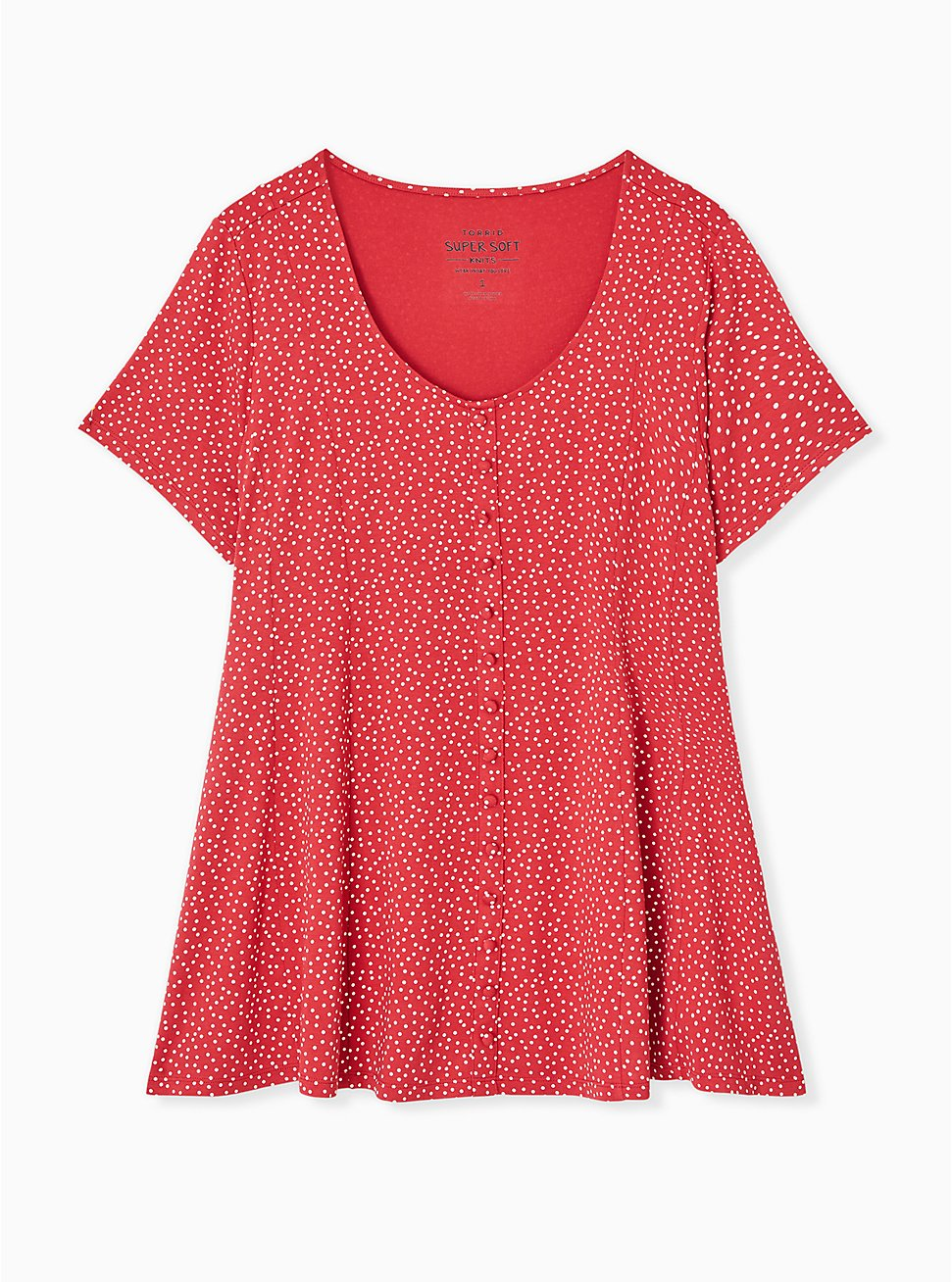 Plus Size Super Soft Red Ditsy Dots Button Fit & Flare Top, DOT - RED, hi-res