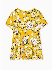 Plus Size Super Soft Yellow Floral Fit & Flare Button Top, FLORAL - YELLOW, alternate