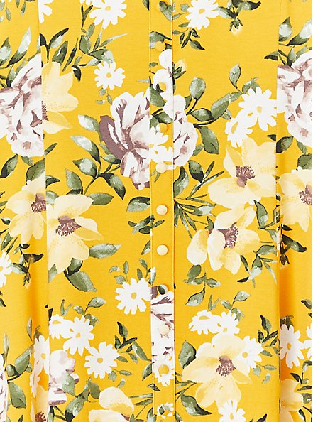 Super Soft Yellow Floral Fit & Flare Button Top, FLORAL - YELLOW, alternate