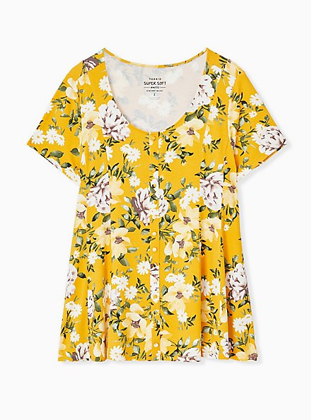 Super Soft Yellow Floral Fit & Flare Button Top, FLORAL - YELLOW, hi-res