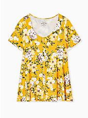 Plus Size Super Soft Yellow Floral Fit & Flare Button Top, FLORAL - YELLOW, hi-res