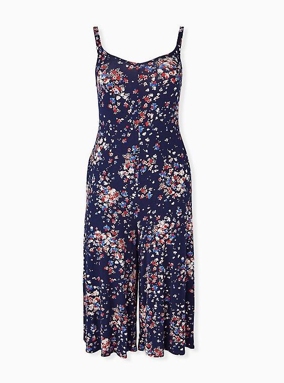 Super Soft Navy Ditsy Floral Culotte Jumpsuit, , hi-res