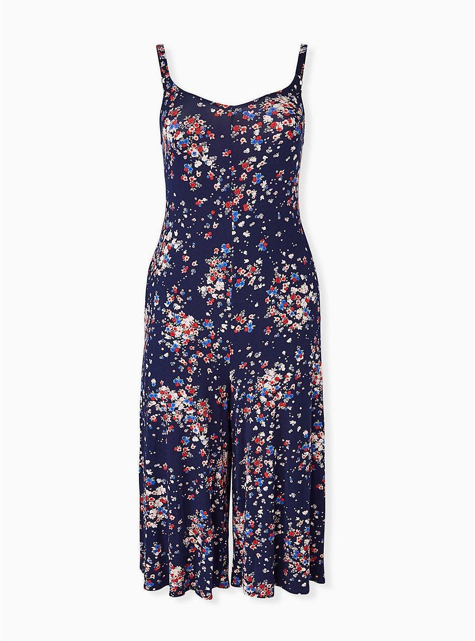 Super Soft Navy Ditsy Floral Culotte Jumpsuit, FLORAL - BLUE, hi-res