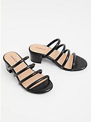 Black Faux Leather Tube Strap Mule Sandal (WW), BLACK, alternate
