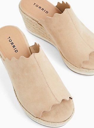 Tan Faux Suede Scalloped Espadrille Sport Mule Wedge (WW), BLUSH, alternate