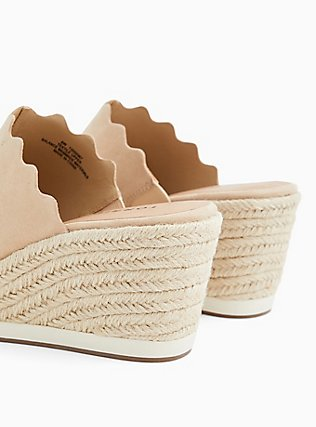 Plus Size Tan Faux Suede Scalloped Espadrille Sport Mule Wedge (WW), BLUSH, alternate