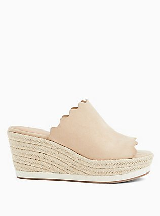 Plus Size Tan Faux Suede Scalloped Espadrille Sport Mule Wedge (WW), BLUSH, hi-res