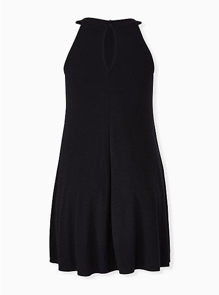 Black Rib Fluted Mini Dress, DEEP BLACK, alternate