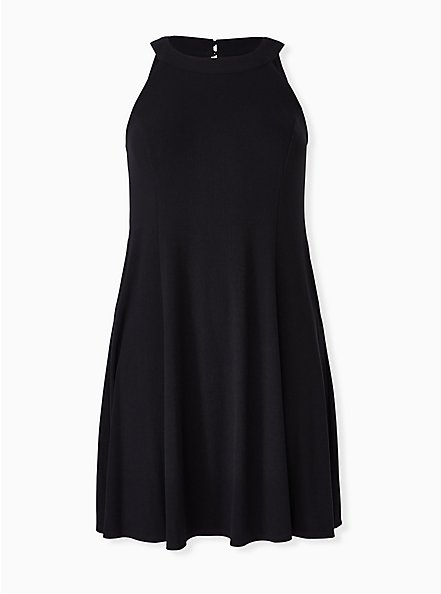 Black Rib Fluted Mini Dress, DEEP BLACK, hi-res