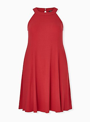 Plus Size Red Rib Fit & Flare Mini Dress, AMERICAN BEAUTY, hi-res