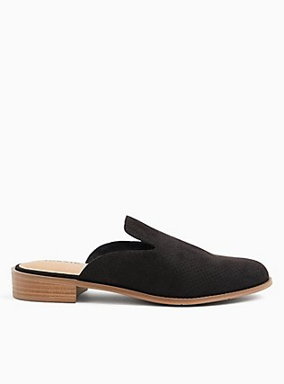 Black Faux Suede Perforated Mule Loafer (WW), BLACK, hi-res