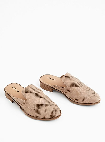 Taupe Faux Suede Perforated Mule Loafer (WW), , alternate