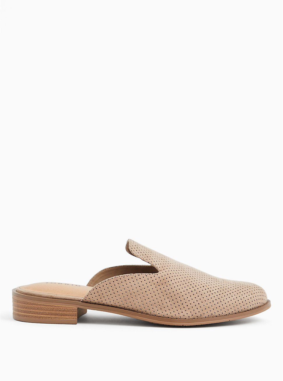 Taupe Faux Suede Perforated Mule Loafer (WW), , hi-res