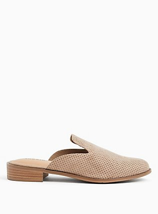 Taupe Faux Suede Perforated Mule Loafer (WW), TAN/BEIGE, hi-res