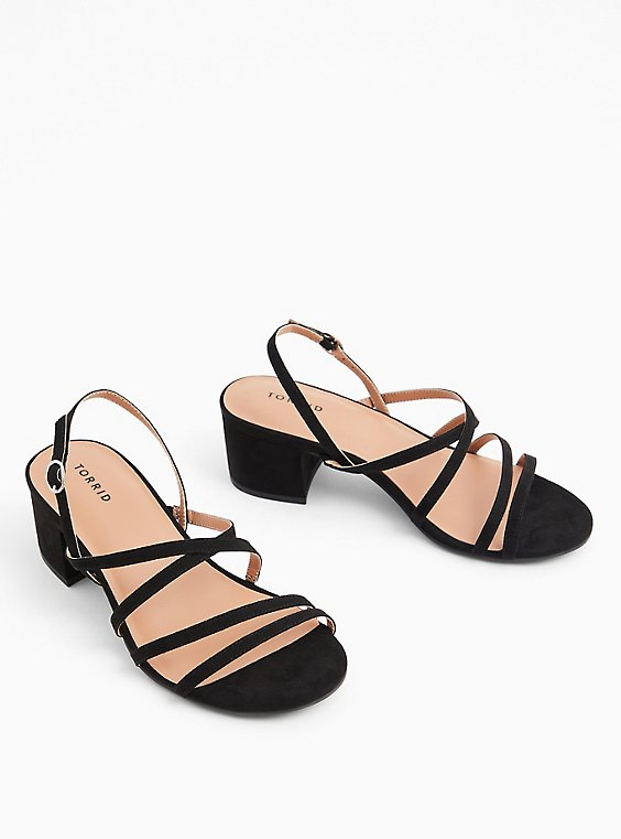 Black Faux Suede Strappy Block Heel (WW), , hi-res