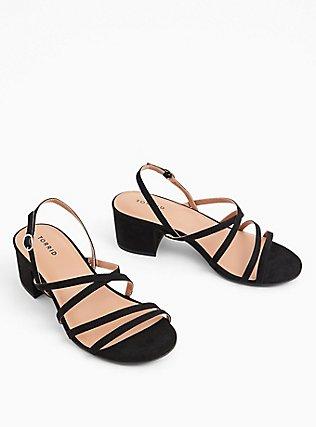 Black Faux Suede Strappy Block Heel (WW), BLACK, hi-res