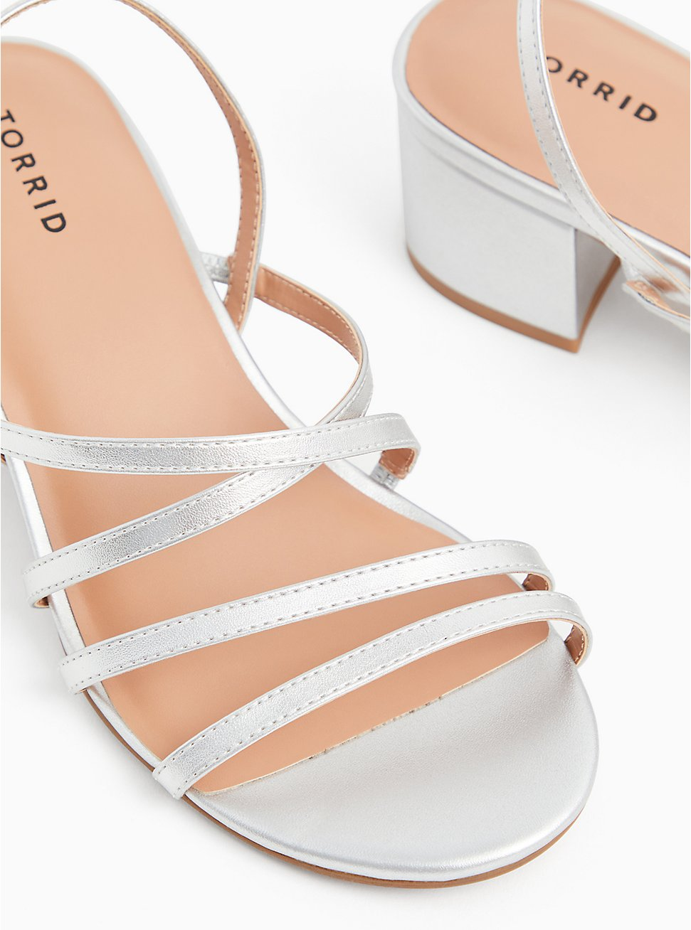 Silver Faux Leather Strappy Block Heel (WW), SILVER, hi-res