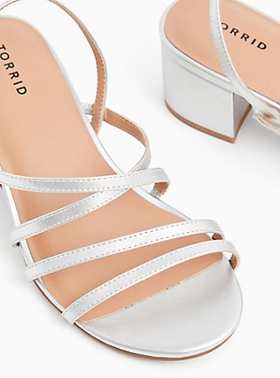 Plus Size Silver Faux Leather Strappy Block Heel (WW), SILVER, hi-res