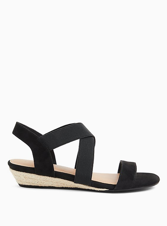 Black Stretch Slingback Low Wedge (WW), , hi-res