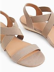 Taupe Stretch Slingback Low Wedge (WW), , alternate