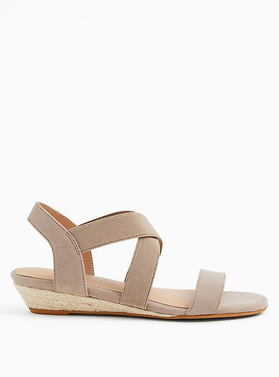 Plus Size Taupe Stretch Slingback Low Wedge (WW), , hi-res