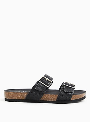 Black Rhinestone Dual Strap Slide (WW), BLACK, alternate