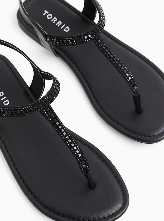 Black Faux Leather Rhinestone T-Strap Sandal (WW), BLACK, hi-res
