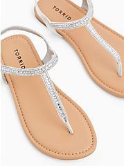 Silver Faux Leather Rhinestone T-Strap Sandal (WW), SILVER, hi-res