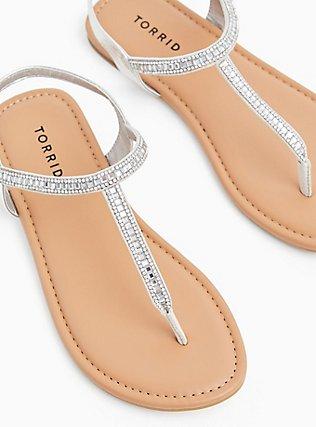 Plus Size Silver Faux Leather Rhinestone T-Strap Sandal (WW), SILVER, hi-res