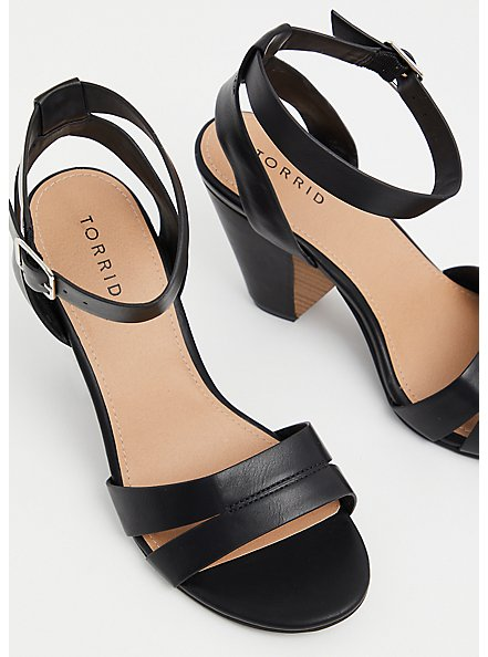 Black Faux Leather Ankle Strap Cone Heel (WW), BLACK, alternate
