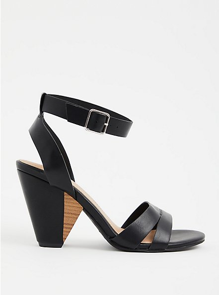 Black Faux Leather Ankle Strap Cone Heel (WW), BLACK, hi-res