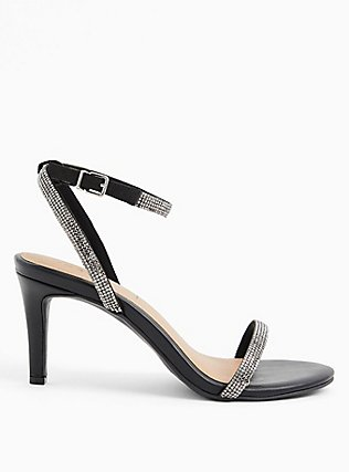 Black Faux Leather Rhinestone Ankle Strap Heel (WW), BLACK, alternate