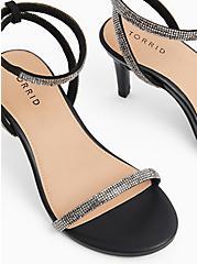 Black Faux Leather Rhinestone Ankle Strap Heel (WW), BLACK, alternate