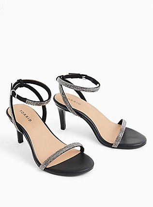 Black Faux Leather Rhinestone Ankle Strap Heel (WW), BLACK, hi-res