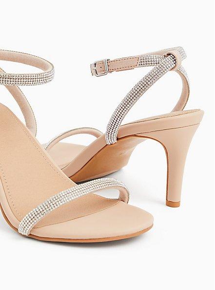 Beige Faux Leather Rhinestone Ankle Strap Heel (WW), , alternate