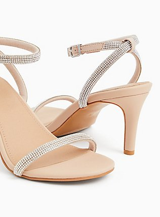 Nude Faux Leather Rhinestone Ankle Strap Heel (WW), NUDE, alternate