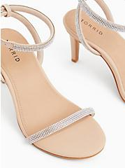 Beige Faux Leather Rhinestone Ankle Strap Heel (WW), , alternate