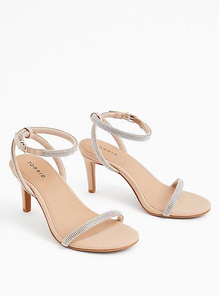 Beige Faux Leather Rhinestone Ankle Strap Heel (WW), , hi-res