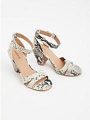 Snakeskin Print Faux Leather Ankle Strap Cone Heel (WW), ANIMAL, alternate