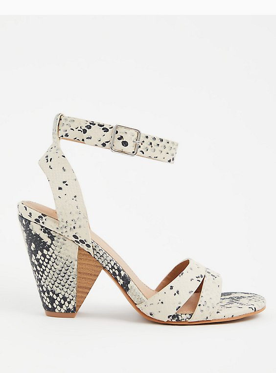 Snakeskin Print Faux Leather Ankle Strap Cone Heel (WW), , hi-res