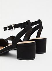 Black Faux Suede Scalloped Low Block Heel (WW), BLACK, alternate