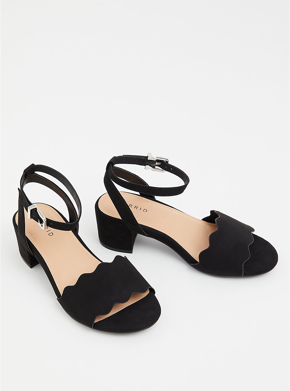 Black Faux Suede Scalloped Low Block Heel (WW), BLACK, hi-res