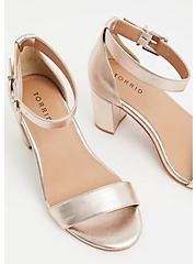 Rose Gold Faux Leather Ankle Strap Tapered Heel (WW), ROSE GOLD, alternate